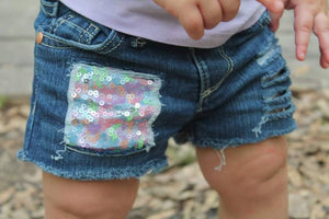 Spring Sequins Distressed Shorts
