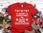 Merry Christmas Ya Filty Animal Tshirt Adult