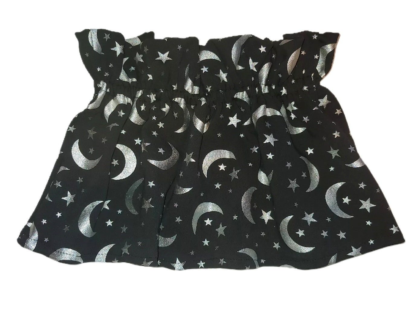Silver Moon and Stars Paperbag Skirt RTS 4T