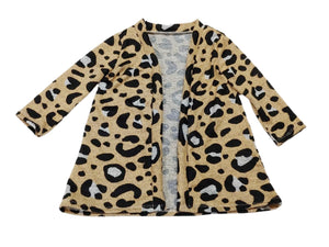 Cream Leopard Long Sleeve Duster