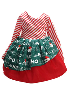 Santa Stripes Princess Holiday Dress 4T RTS