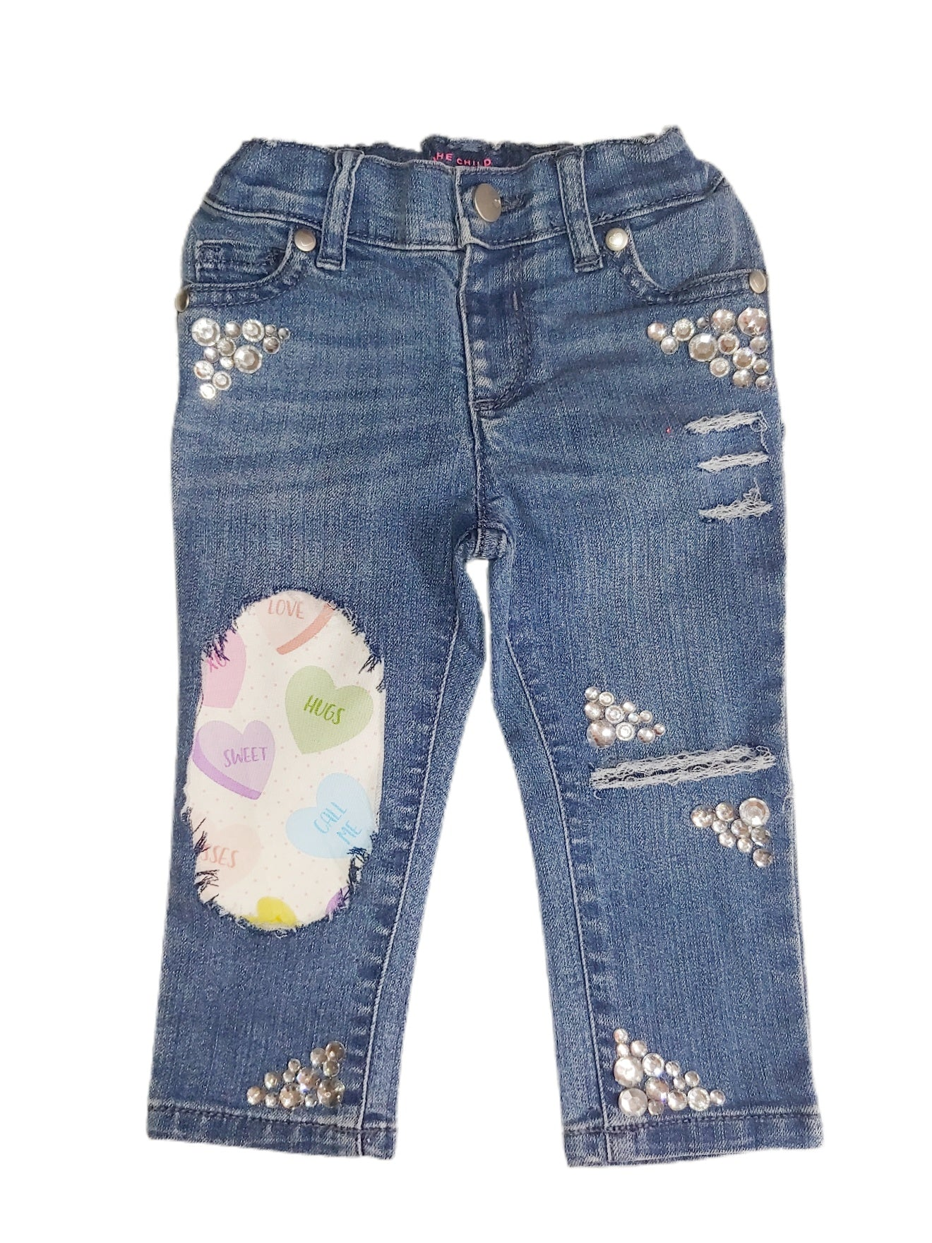 Conversation Hearts Distressed Jeans