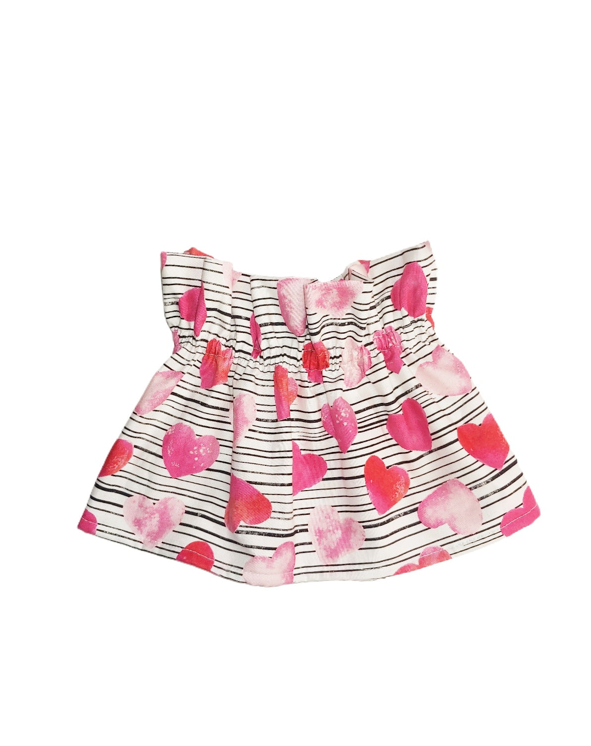 Pink Hearts & Stripes Paperbag Skirt (READY TO SHIP)