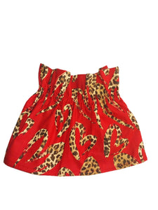 Red Leopard Hearts Paperbag Skirt 12-18 Months (READY TO SHIP)