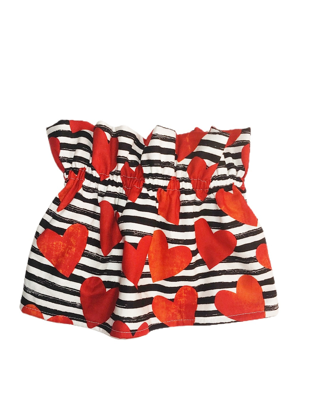 Red Hearts & Stripes Paperbag Skirt (READY TO SHIP)