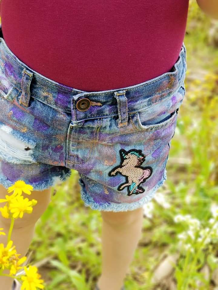 Unicorn Sparkle Distressed Shorties