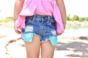 Teal Floral Hilo Distressed Shorties
