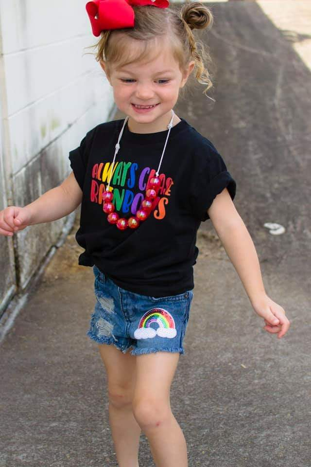 Rainbow Patch Distressed Shorts