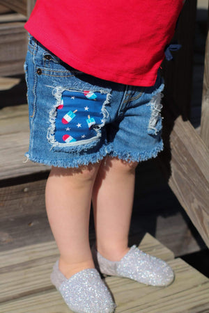 Bomb Pop Distressed Shorts