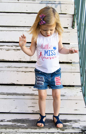 Stars and Stripes Distressed Shorts