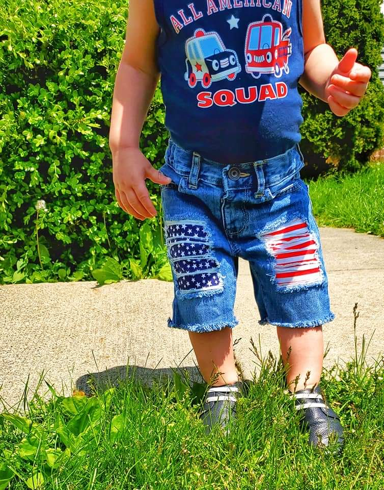 Stars and Stripes Boys Distressed Shorts