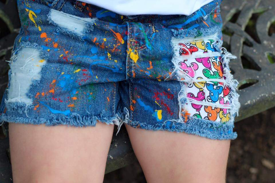 Mickey Celebrate Distressed Shorts