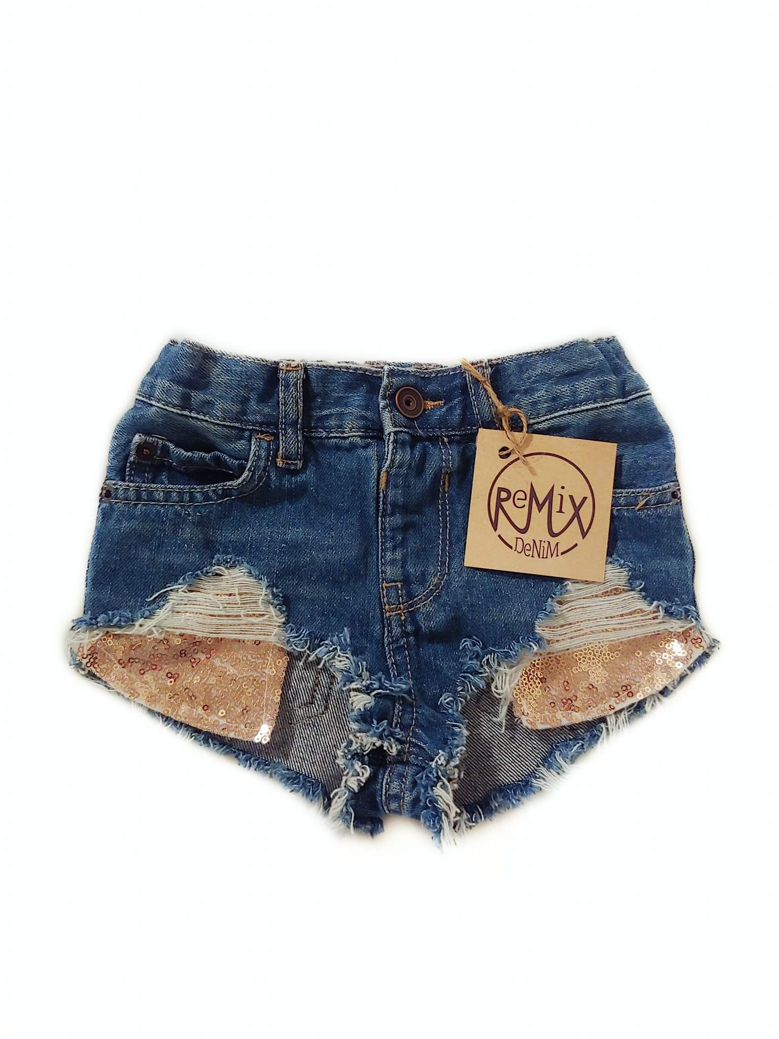 Rose Gold Sequin Hilo Distressed Shorties