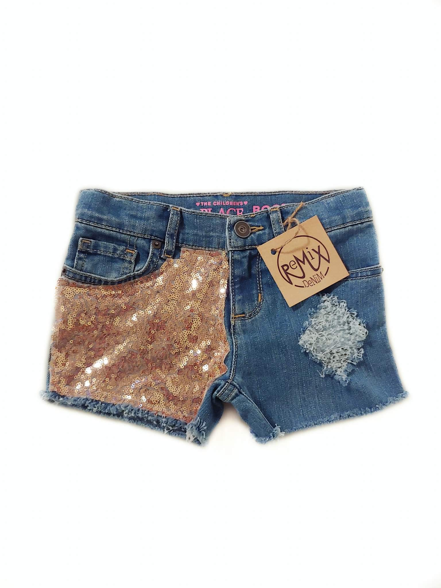 Rose Gold Sequin Distressed Shorts