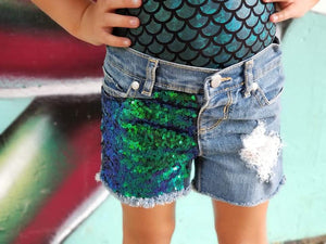 Green Blue Sequin Distressed Shorts