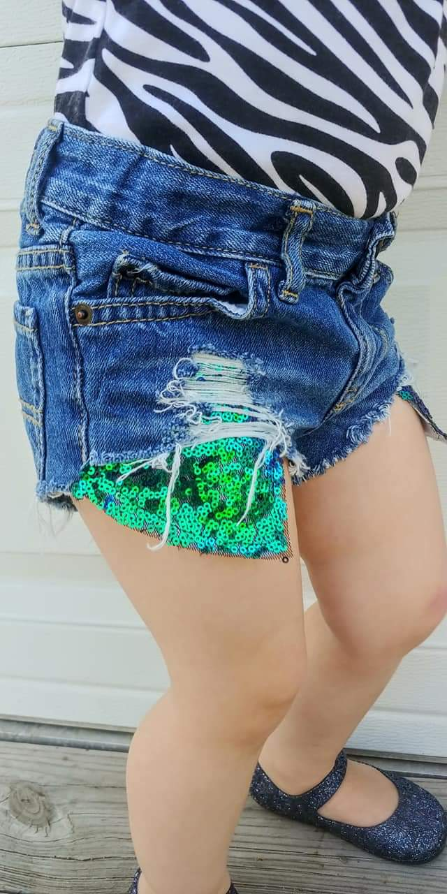 Green Blue Sequin Hilo Distressed Shorties