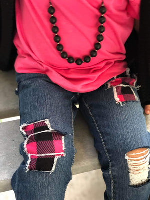 Girls Buffalo Plaid Distressed Jeans (Choose your color)