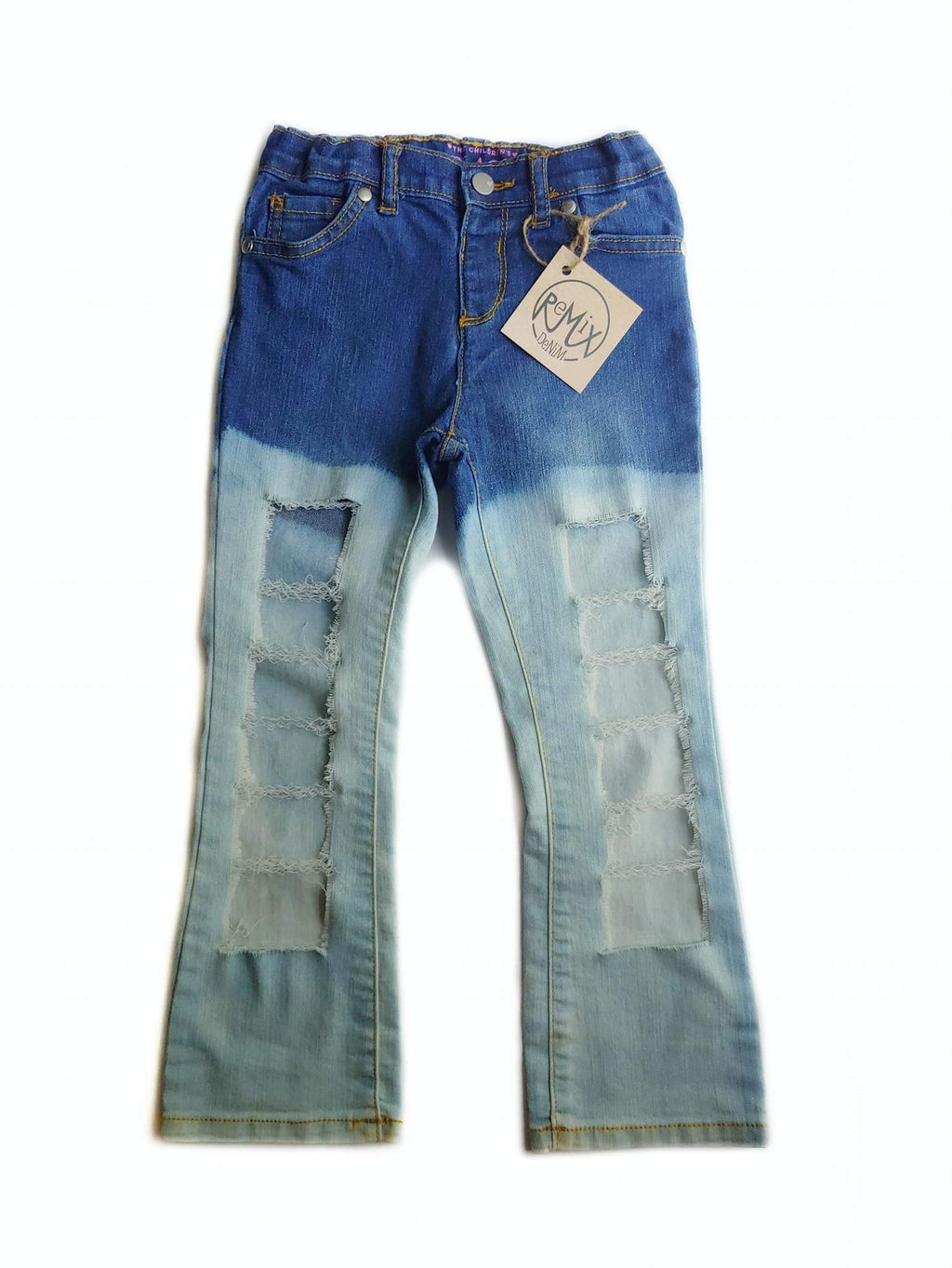 Acid Wash Bootcut Super Distressed Jeans