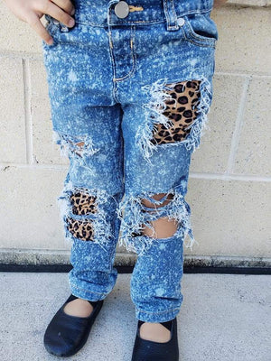 Acid Splashed Leopard Distressed Jeans