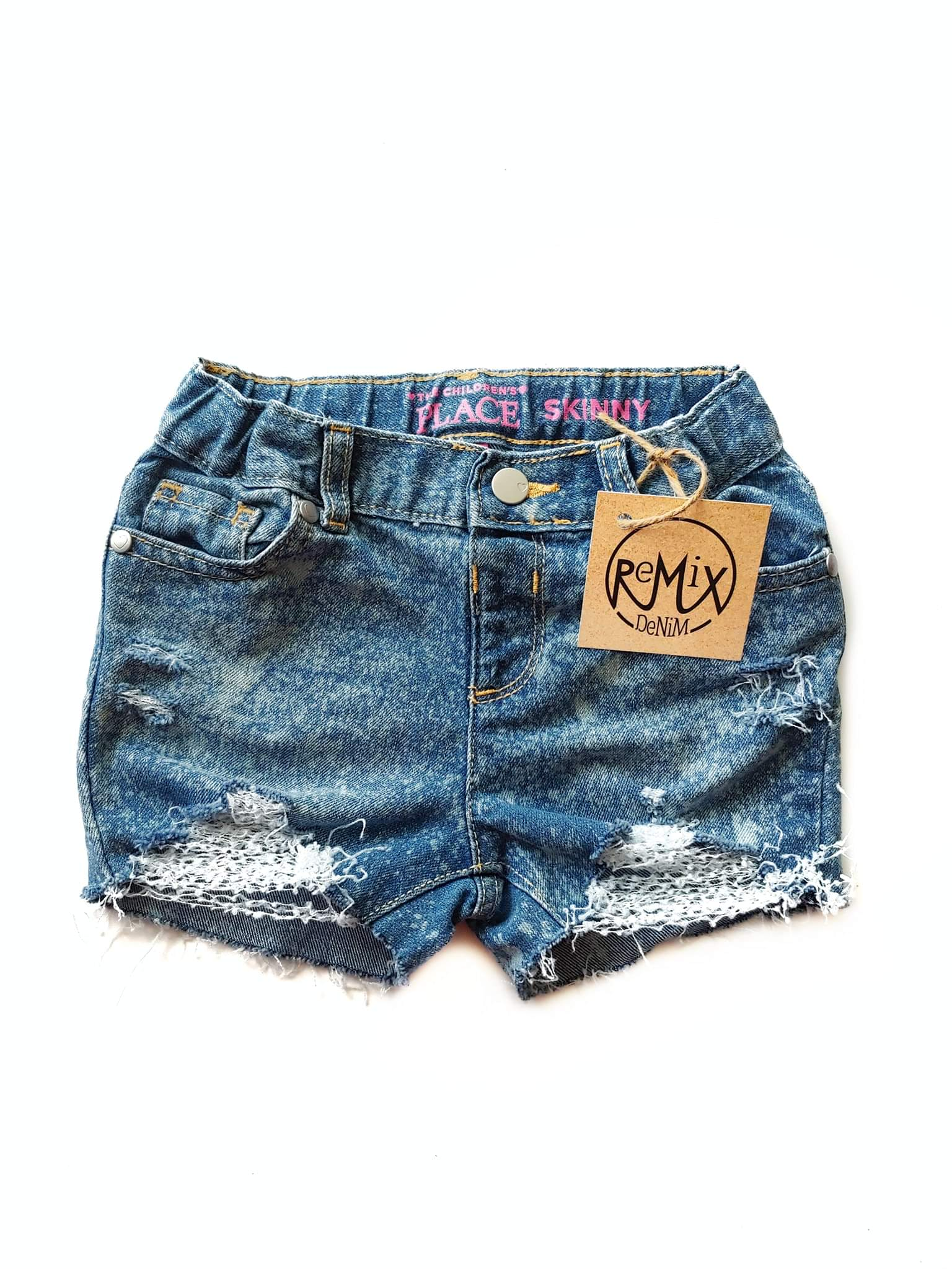 Acid Splashed Distressed Shorts