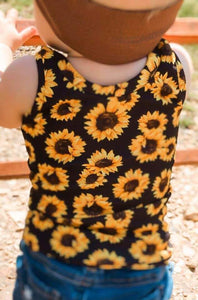 Black Sunflowers Tank Top