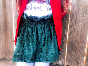 Hunter Green Velvet Paperbag Skirt RTS