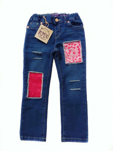 Glitter Swirl Hearts and Sparkle Distressed Jeans