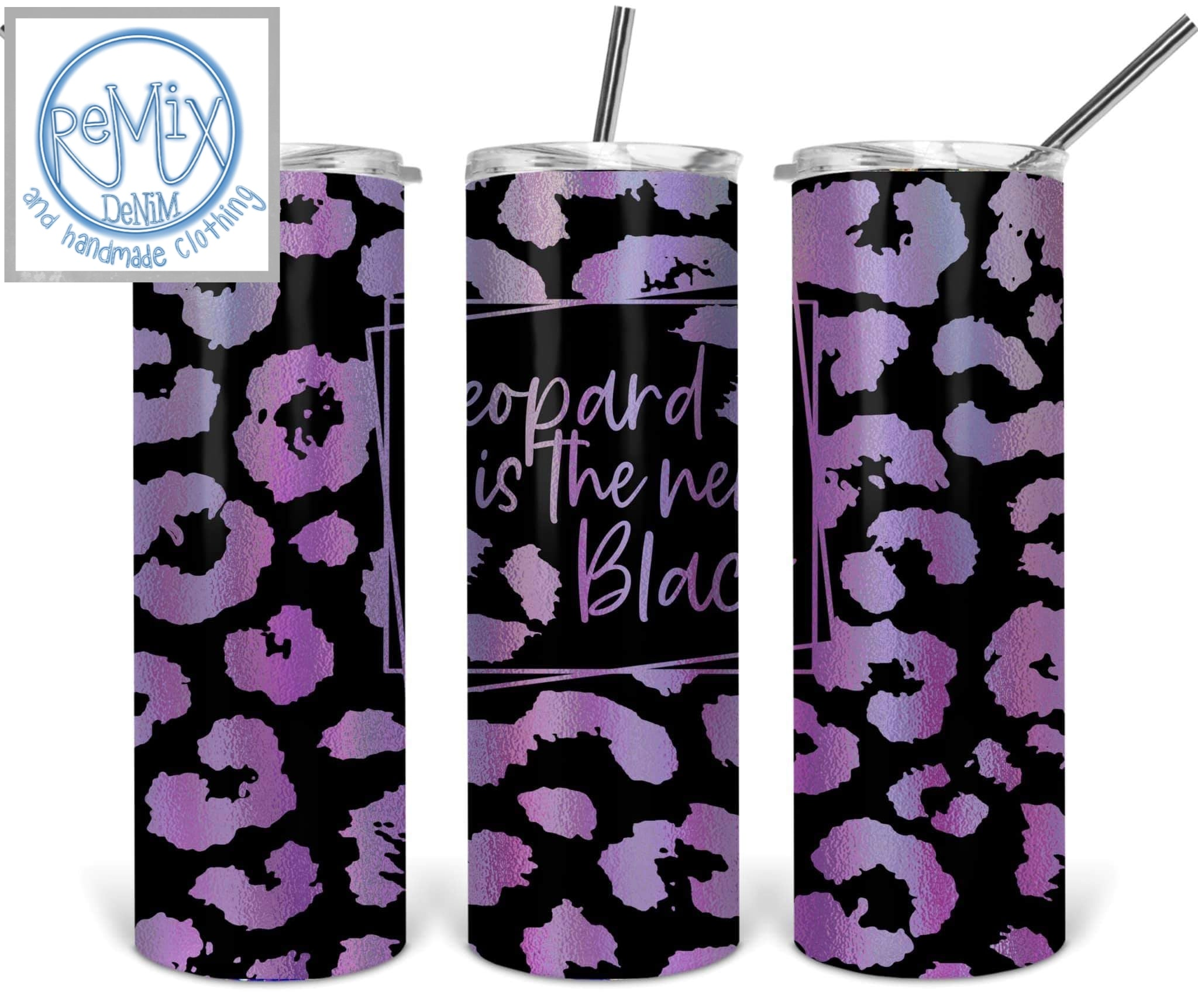 Leopard Is The New Black (Purple) 20oz Skinny Tumbler