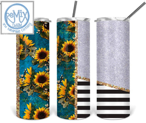 Sunflower Stripe (Customize with Name) 20oz Skinny Tumbler
