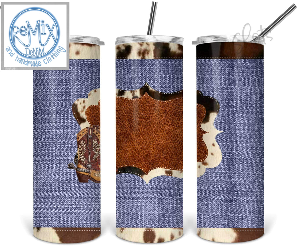 Denim Cowhide (Customize with Name) 20oz Skinny Tumbler