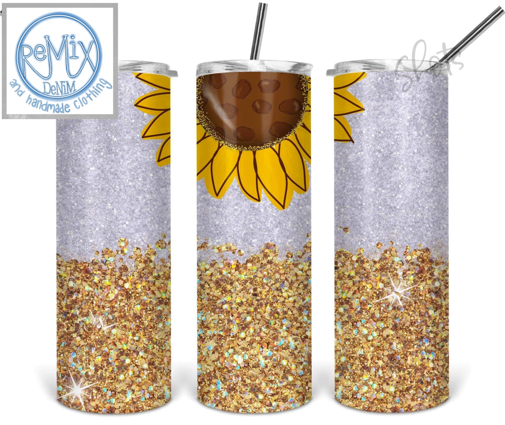 Gold Glitter Sunflower (Customize with Name) 20oz Skinny Tumbler