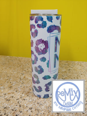 Mama White Purple/Blue Leopard 20oz Skinny Tumbler