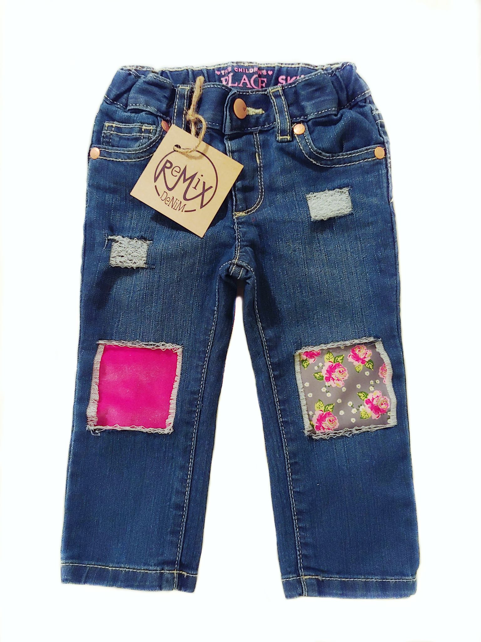 Dainty Pink Roses and Velvet Distressed Jeans