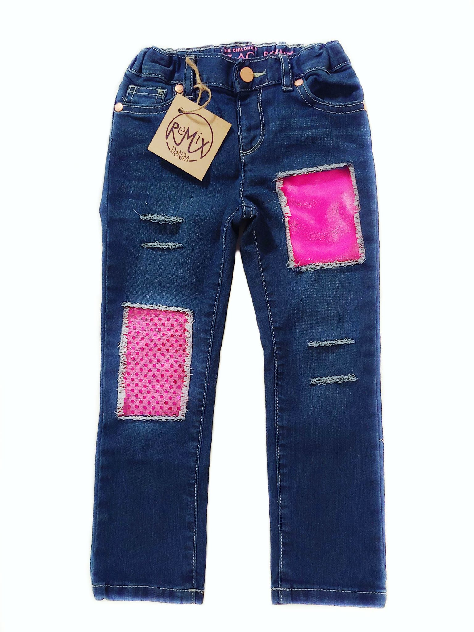 Pink Velvet & Sparkle Distressed Jeans
