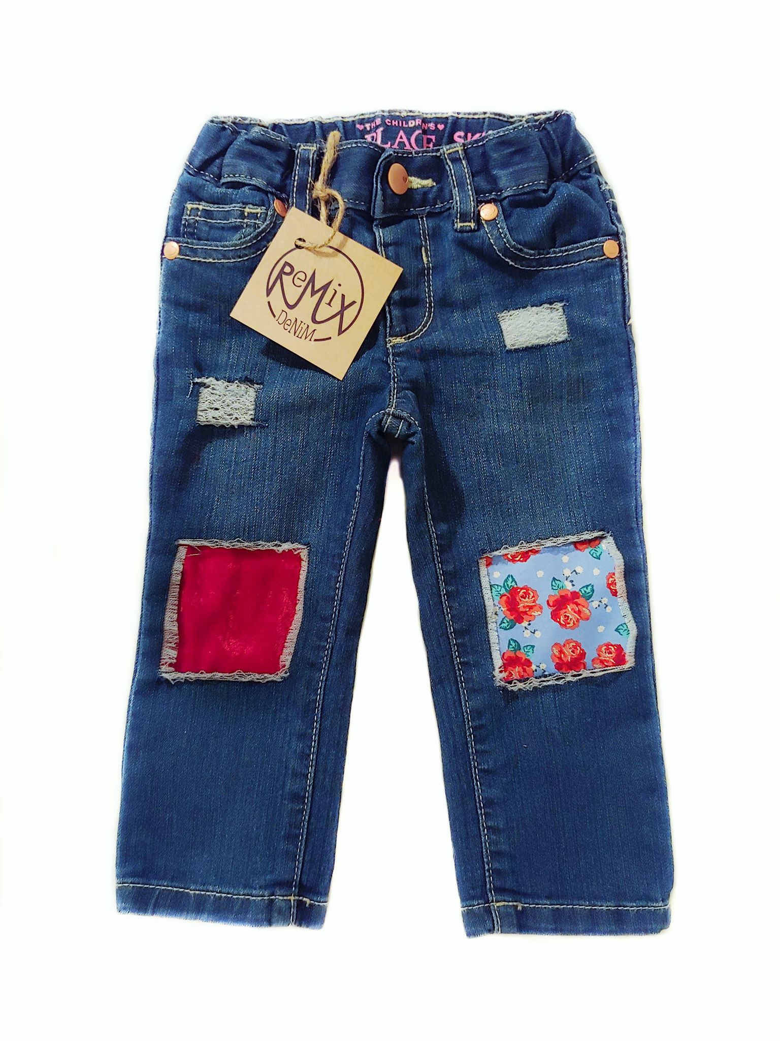 Dainty Red Roses and Velvet Distressed Jeans