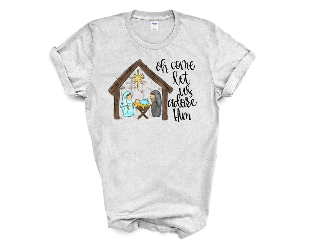 O Come Let Us Adore Him Tshirt Adult