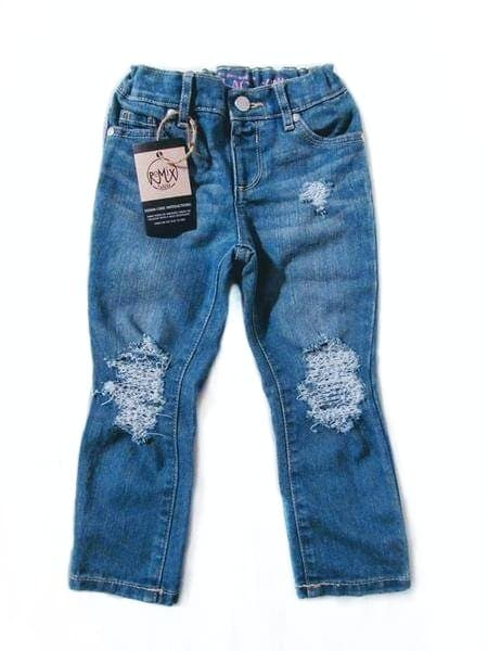 Basic Distressed Jeans, Dark Wash (Girls & Boys)