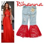 Rihanna Distressed Bell Bottoms