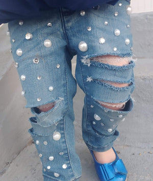 Glitz and Glam Distressed Jeans