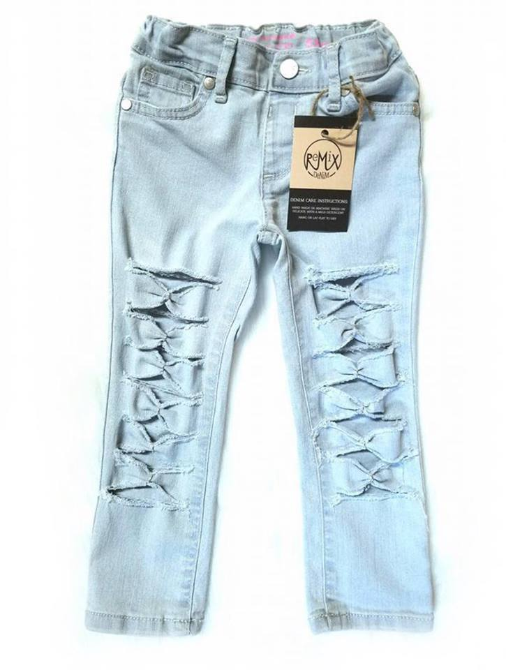 Light Wash Bow Tie Jeans