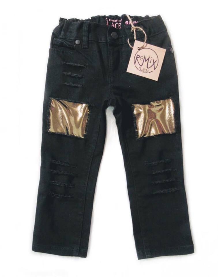 Black & Gold Distressed Jeans