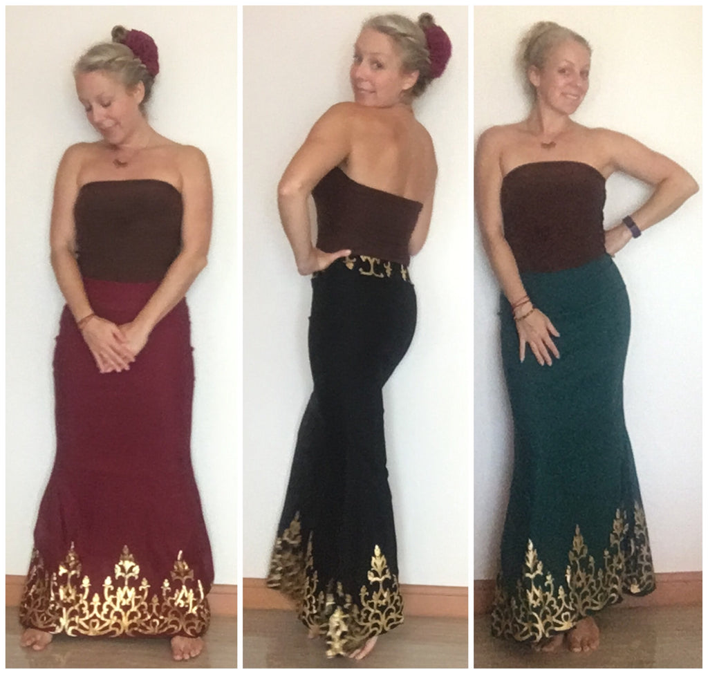 Golden Trim Maxi Mermaid Skirt