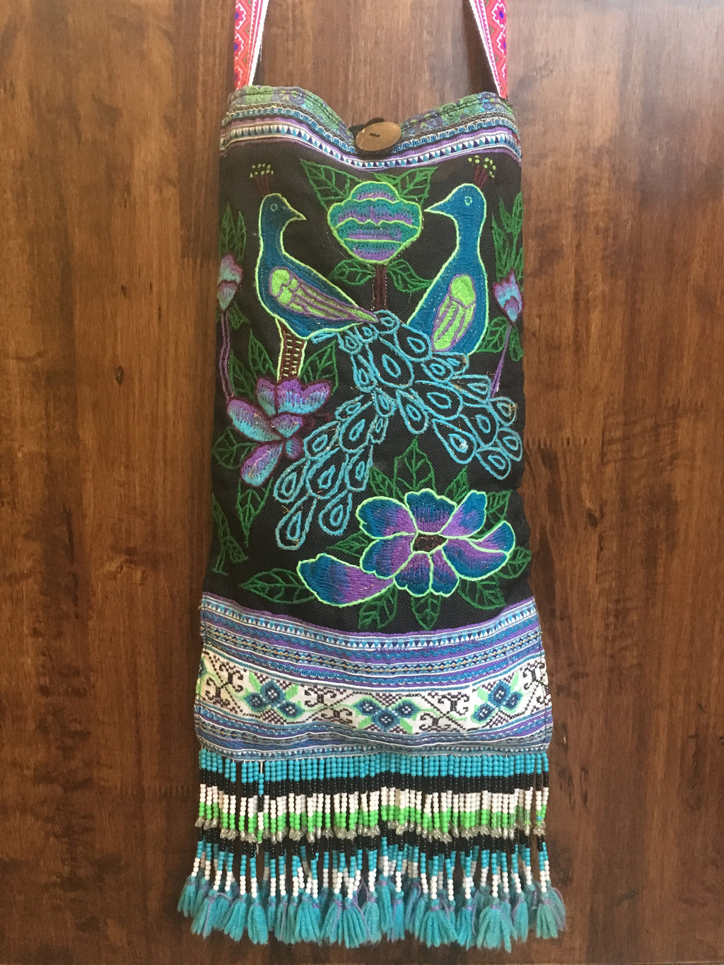 Embroidered Double Peacock Beaded Sling