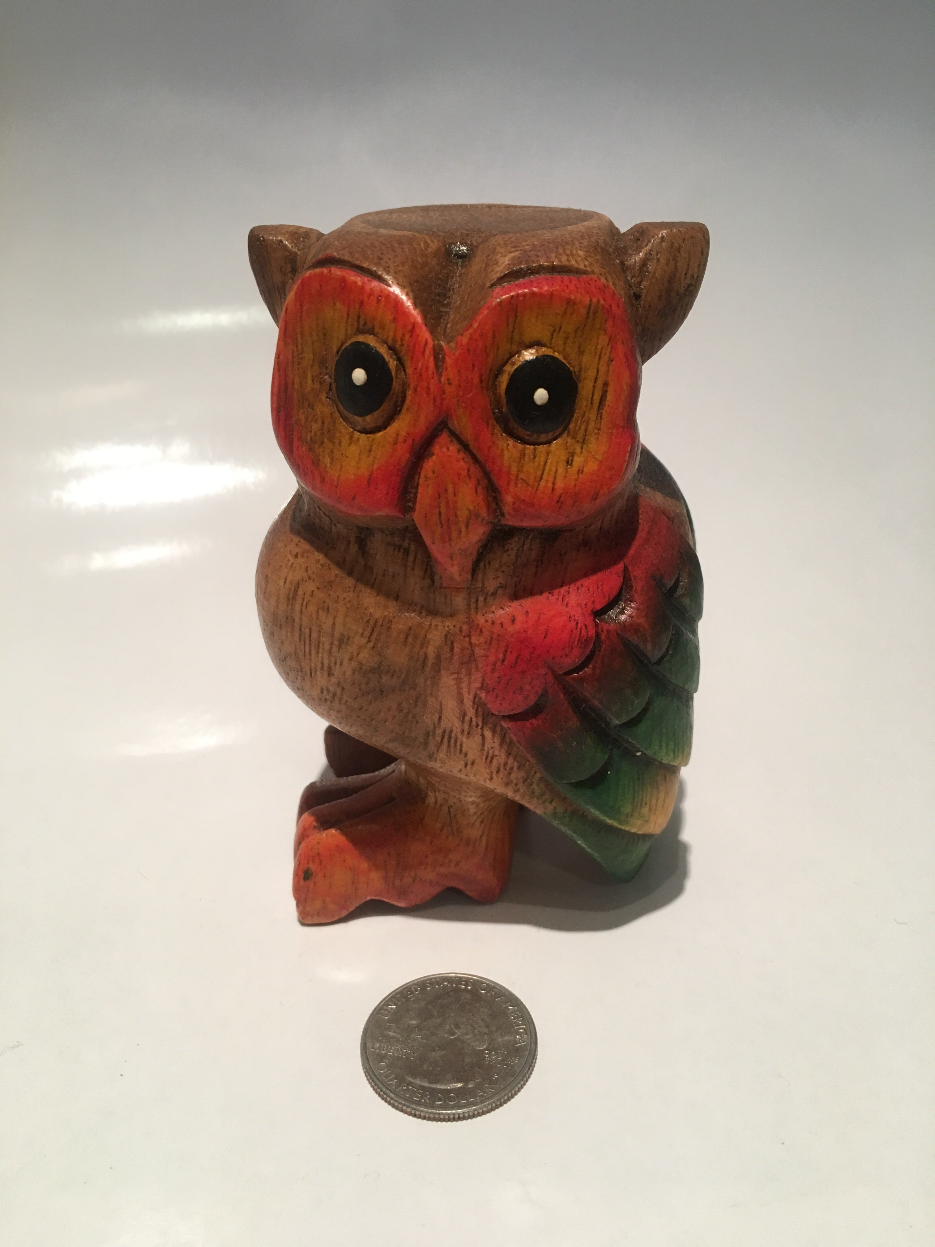 Wood Carved Owl Whistle