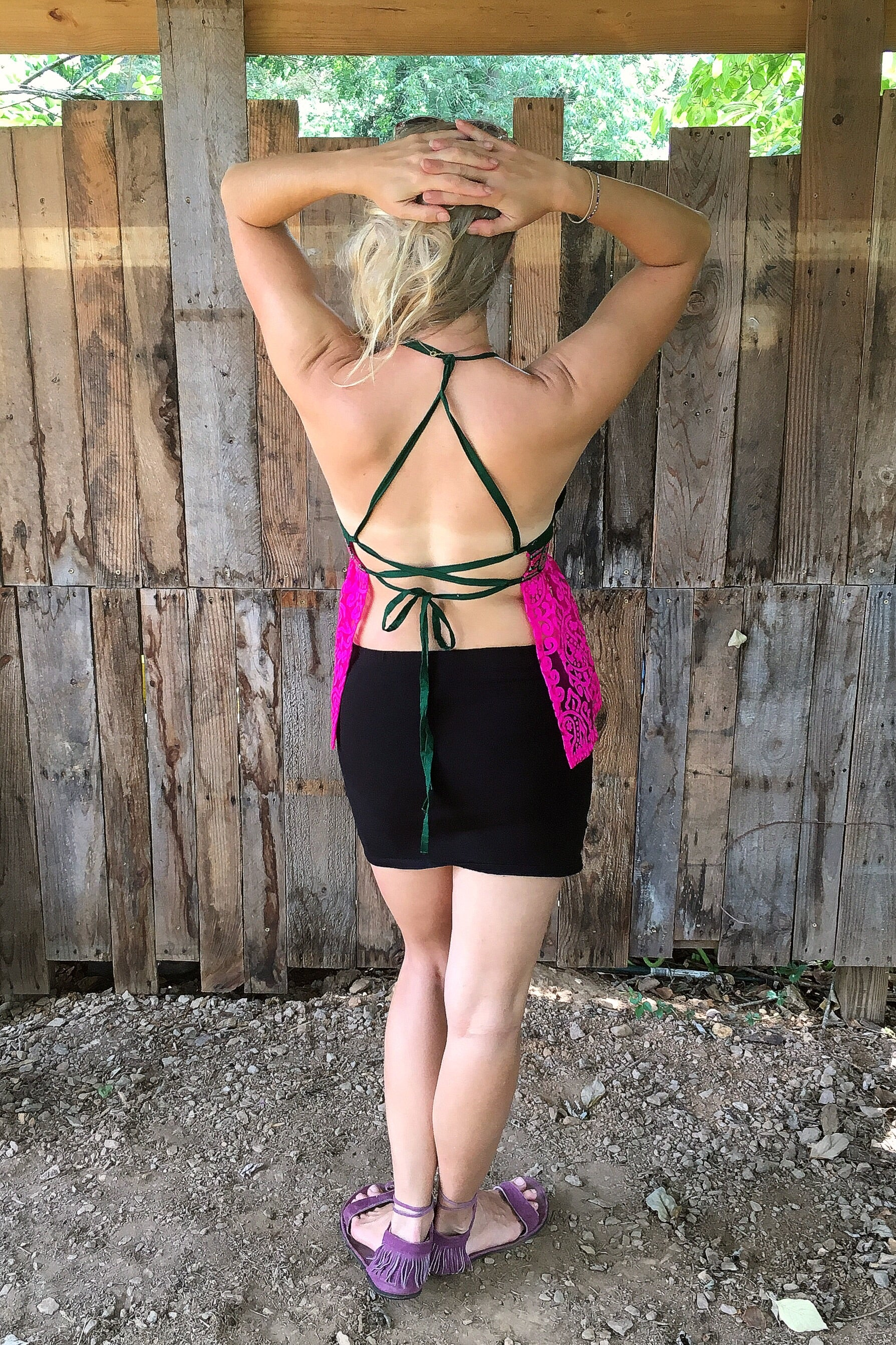 Open Back Hippy Top with Triangle Bust