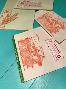 Hand stamped recycled paper