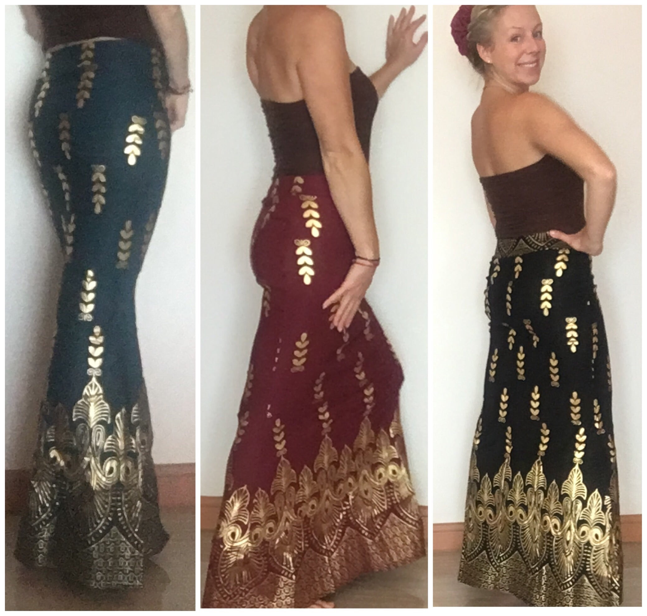 Golden Vine Maxi Mermaid Skirt