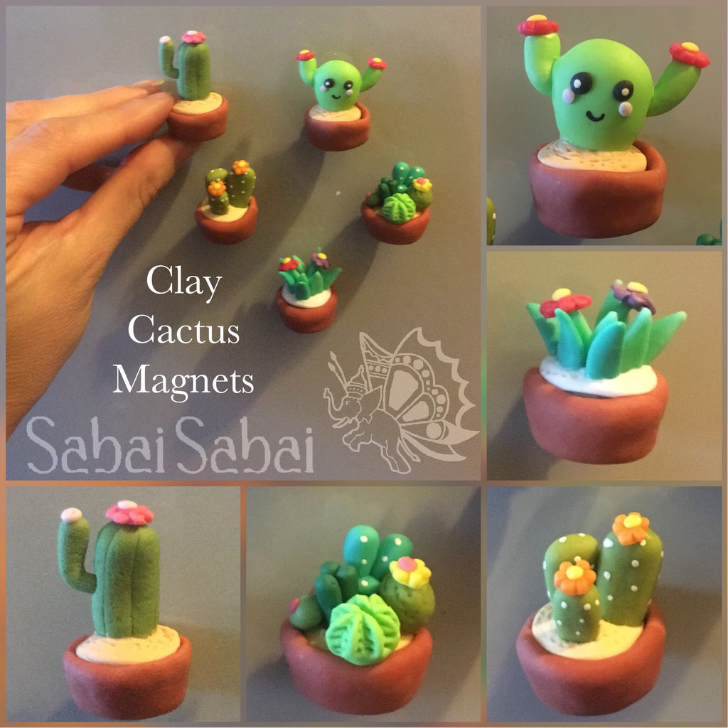 Clay Cactus Magnets