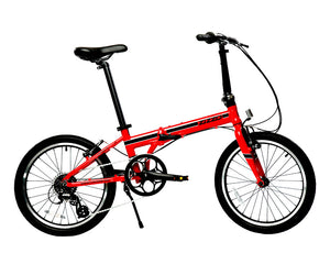 featured image | variant=red, featured=yes, allow-fullscreen, side profile of a red zizzo urbano lightweight folding bicycle, great for recreation and bicycle commuting.