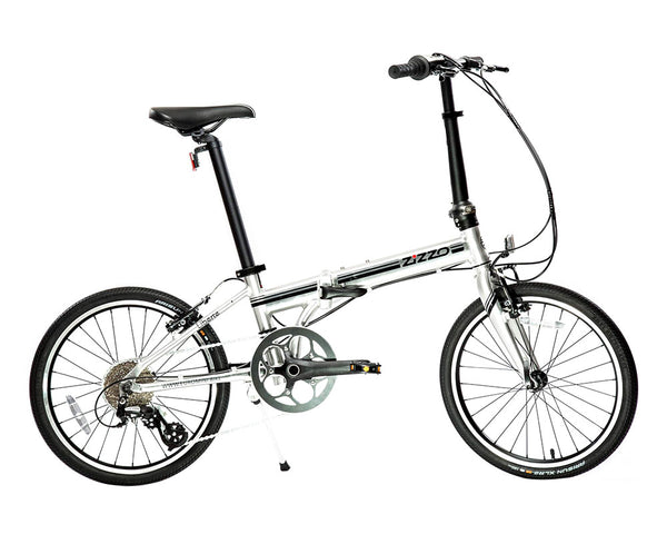 featured image | variant=black, featured=yes, allow-fullscreen, side profile view silver and black zizzo liberte lightweight folding bicycle, great for recreation and bicycle commuting.